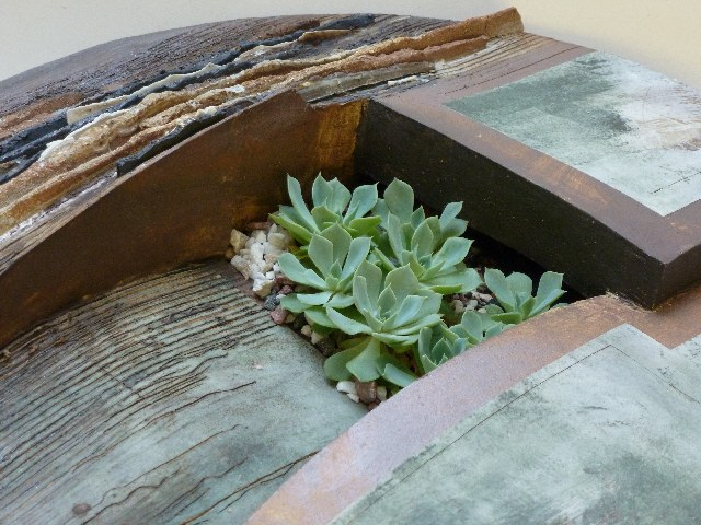 detail of stoneware planter