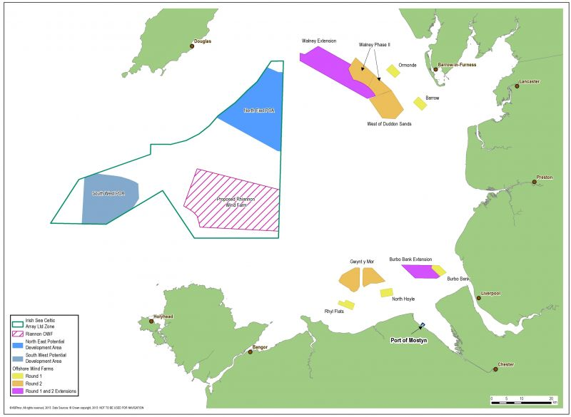 A map showing the windfarm construction sites off the coast of North Wales.