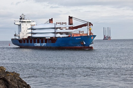 Wind turbines being shipped to the offshore windfarm construction site.