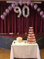 90th Birthday Caupcakes and Balloons