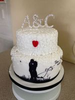 Red Heart Engagement Cake