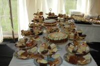 Wide selection of desert cakes for the wedding breakfast