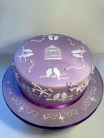 Lilac Love Birds Birthday Cake