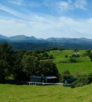 Huts overlooking Snowdonia