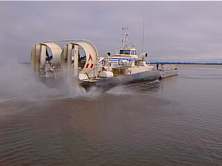 Hovercraft ( trial) pushing a barge Brazil