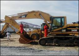 CAT 345 being serviced on site at Lagos