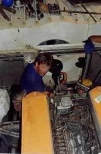 John Pattison changing an engine before the next delivery