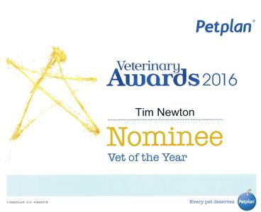 Vet of the year 2016 nomination for Tim