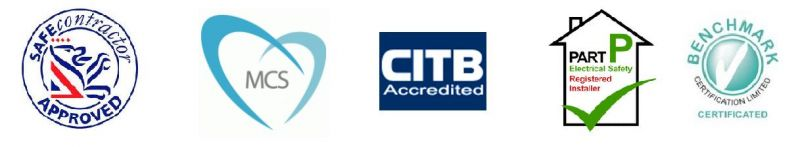 SafeContractor, part P, CITB, Benchmark and MCS logo